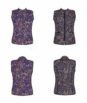 Cotton Lane Hand Screen Reversible Printed Waistcoat W78 Plum. Sizes UK 8 to 38