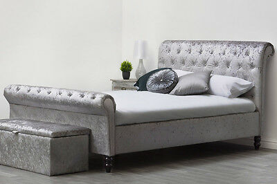 Crushed Velvet Fabric Silver / Black Chesterfield Sleigh Bed Frame Double King
