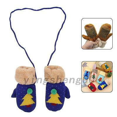 Kids Children Toddles Girls Boys Baby Christmas Tree Gloves Knitted Mittens Warm