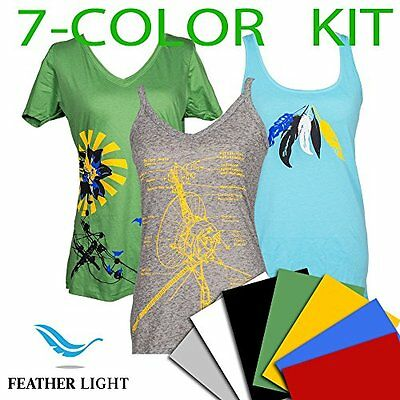 "Heat Transfer Vinyl HTV - Feather Light by SISER, 15"" x 12"" 7-Color Kit"