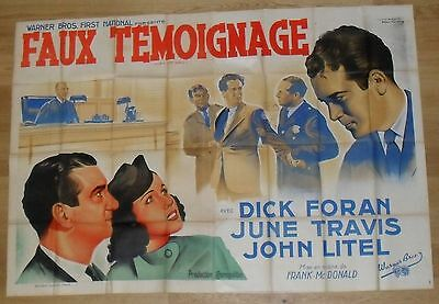 OVER THE WALL Lewis Lawes original french movie poster 2 Panel  '38 litho