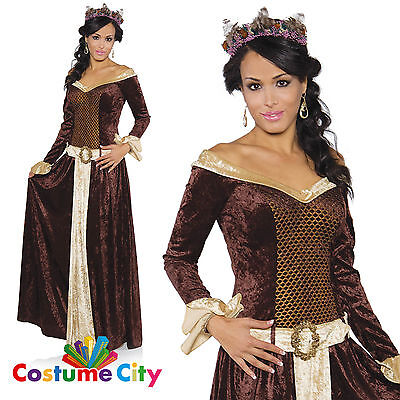 Adult Womens Medieval My Lady Maiden Princess Gown Fancy Dress Party Costume