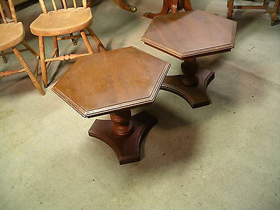 Pair Ethan Allen Court Collection Hexagonal Accent Table 11 8070 Solid Cherry