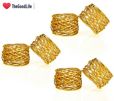 ITOS365 Handmade Round Mesh Napkin Rings Holder for Dinning Table Parties Set of