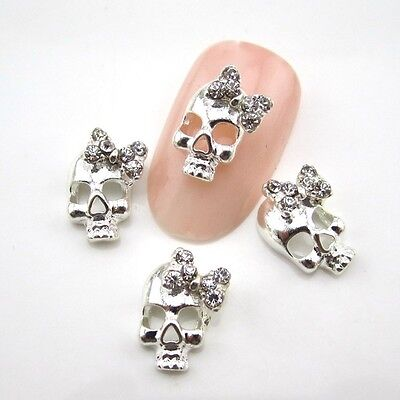 New 10pcs Skull Design Rhinestone Alloy Nail Art Decorations DIY 3D Nail Beauty