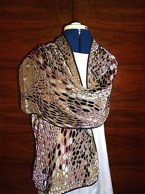 Velvet devore scarf   Pink, grey, mauve, black abstract on fawn background NEW