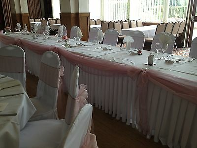 Pleated Table Skirt Wedding / Buffet / Stall Polyester Fabric machine washable