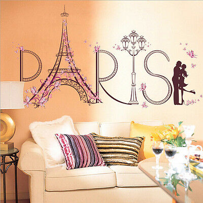 Eiffel Tower Paris PVC Removable Room Decal Art Wall Stickers Home Decor Mural