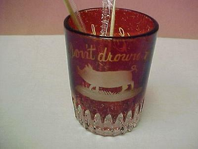 "Ruby Flash EAPG - Vintage Shot Glass ""Don't drown the Pig"" = 14991C"