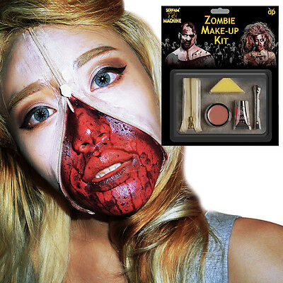 Zombie Zipper Fancy Dress Set (Zipper, Latex Skin, Fake Blood, Sponge)