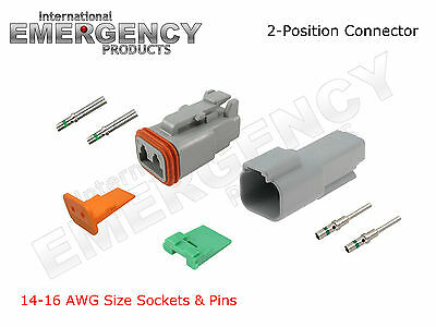 2-Pin DT Connectors Set Deutsch 14 16 AWG Nickel GA Kit Male Female Gray OEM