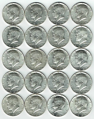 "1965-1969 Kennedy Half Dollar 20 Coin Roll 40% Silver ""AU"" (Exact Coins Shown)"
