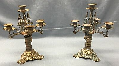 Beautiful Pair Antique BRONZE / BRASS Candelabra's ~ Ornate ~ Great Patina !
