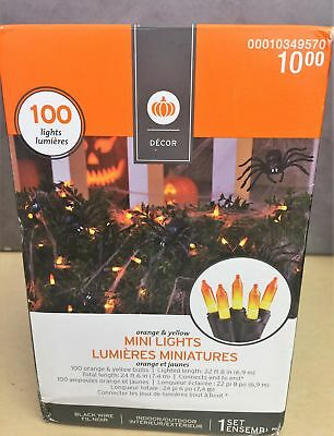 Halloween Orange & Yellow Mini Lights Indoor/Outdoor Decor-100 Lights ( 2 PACK)