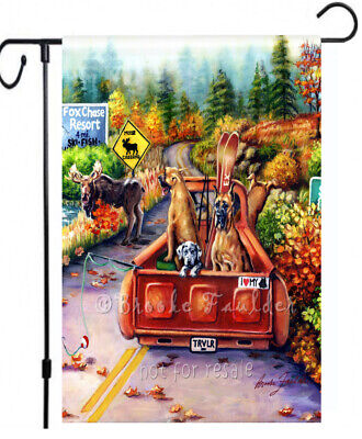 Great Dane painting GARDEN FLAG puppy Moose Crossing Dogs ART