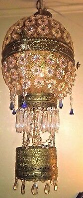 French Vintage Jeweled Hot Air Balloon Filigree Chandelier Crystals Prisms Brass