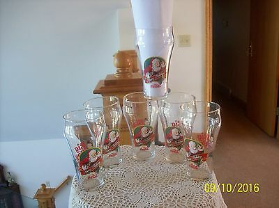 Libbey Big Boy Christmas Vintage Set Of 6 Happy Holiday Santa Tumber Glasses