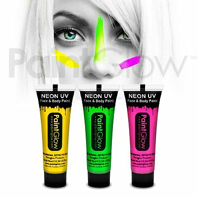 PaintGlow UV Neon Glow Face & Body Paint (3 Pack) Fancy dress face paint makeup