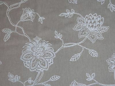 COLEFAX & FOWLER embroidered crewel curtain/blind fabric remnant 1 metre NATURAL