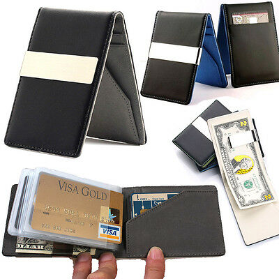 Slim thin Leather bifold wallet Credit Card holder Money clip travel for Men lot