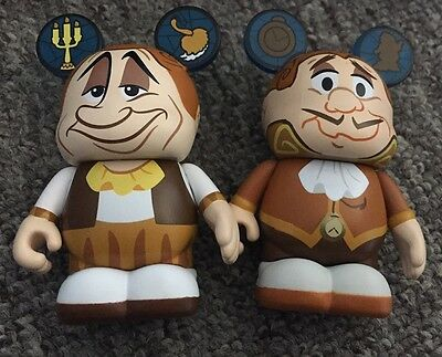 "DISNEY Vinylmation 3"" Park Set 2 Beauty and the Beast Lot Lumiere & Cogsworth"