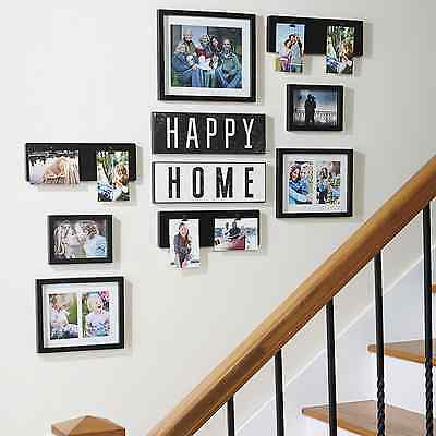 word happy home photo picture frame collage set black wall art decoration decor