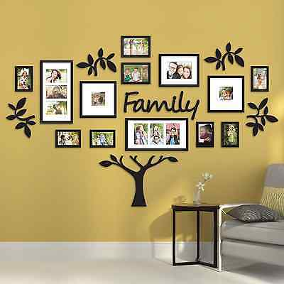 word family tree collage photo picture frame set black wall art decoration decor