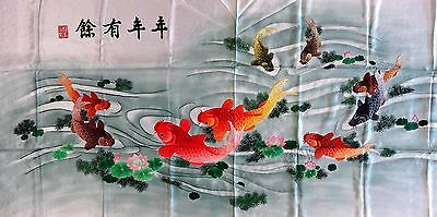 """[#1] Handwoven Silk Chinese Embroidery - 9 fishes (37"""" X 79"""")"""