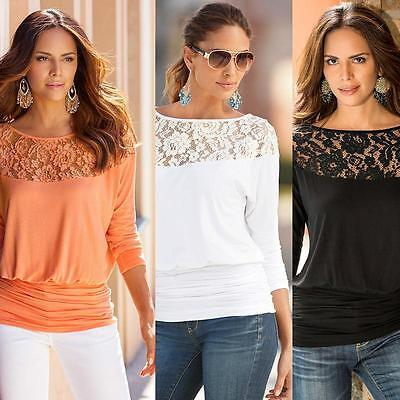 Women Fashion Summer Loose Casual Long Sleeve Lace Shirt Blouse Tee Tops