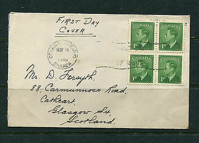Canada 1949 First Day Cover Fdc Kgvi Block Of 4 On Private Cover To Scotland Uk