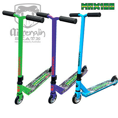 Adrenalin Max 100 Pro Stunt Push Scooter - Lime Or Purple - Adult Kids Children