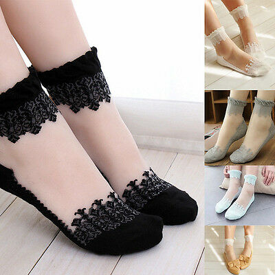 Women's Ultrathin Transparent Crystal Lace Elastic Ankle Short Socks Stockings