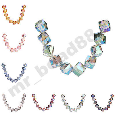 10/20pcs Charms Cube Diagonal Hole 10mm Cube Faceted Crystal Glass Loose Beads