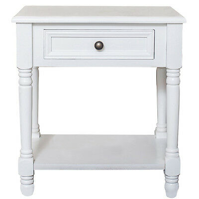 Wooden Bedside Table Drawers Cabinet Rustic White Shabby Chic French Style