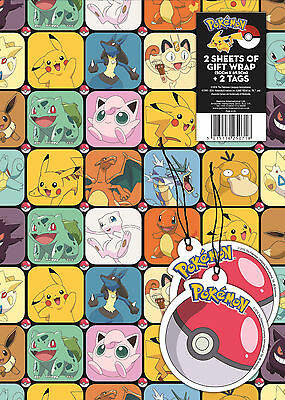 Pokemon | Pikachu | Squirtle Pokeball 2 Sheets of Giftwrap | Paper | 2 Gift Tags