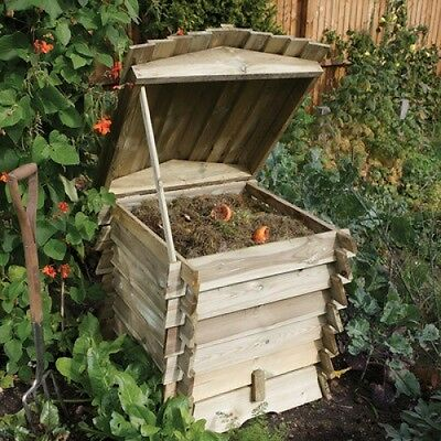 Beehive Wooden Compost Bin 328L Lifting Lid Removable Panel Wood Composter NEW
