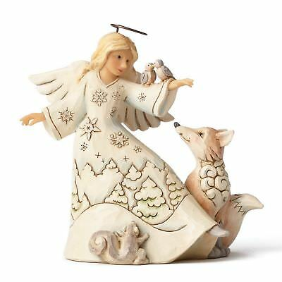 "ENESCO CHRISTMAS DEKORATION ""SMALL WHITE WOODLAND ANGEL"" Jim Shore Figur 4053693"