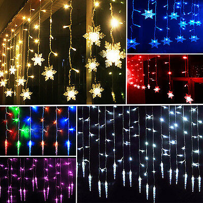 96LED Icicle Hanging Snowflake Curtain String Lights Fairy Christmas Party Lamps