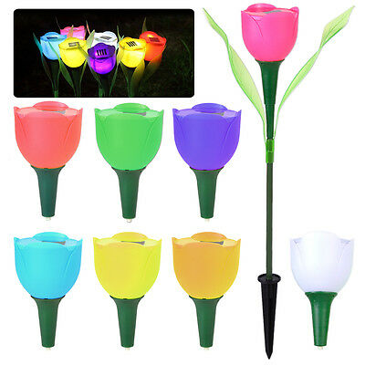 Garden Yard Solar Powered Tulip Flower LED Light Outdoor Path Way Lawn Landscape