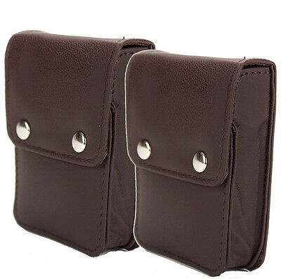 (2) Single Deck Brown Leather Poker Card Cases with Snaps Holder Playing Cards
