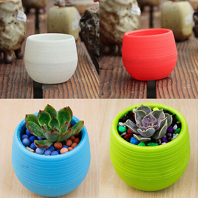Plastic Resin Round Garden Office Desk Home Decor Planter Plant Flower Pot