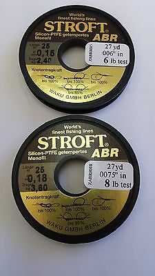lot of 2 spools of STROFT ABR monofil leader 6lb & 8lb  FREE SHIPPING worldwide