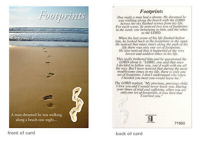 Footprints Prayer Card Religious Verse Holy Keepsake