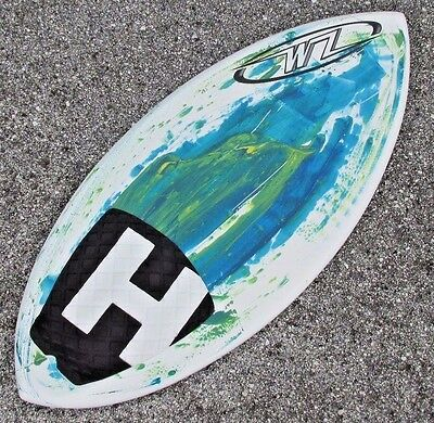"""NEW Wave Zone Surge Skimboard 45"""" with Traction Pad - Green & Blue - Fiberglass"""