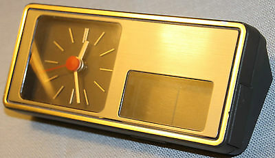 Vintage Aachen Germany Table Desk Clock Battery Operated Art Deco +