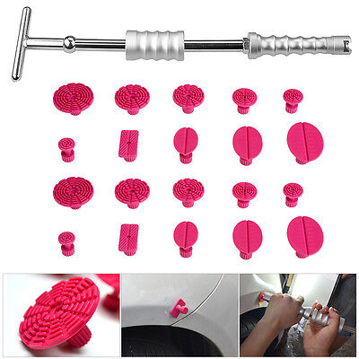 PDR Tools Paintless Dent Repair Removal Slide Hammer T Bar w/ 20pc Glue Tabs Set