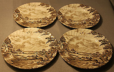"""Lot Of 4 Vintage Hand Engraving Ridgway Country Days England 6.5"""" Plates +"""