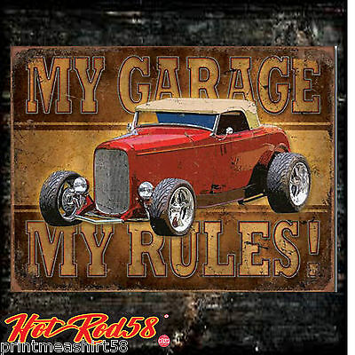 American Hot Rod My garage Classic Auto Vintage Advertising Metal Tin Wall Signs