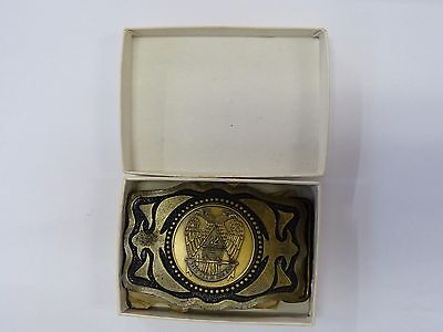 Vintage Solid Brass 32Nd Degree Masonic Belt Buckle
