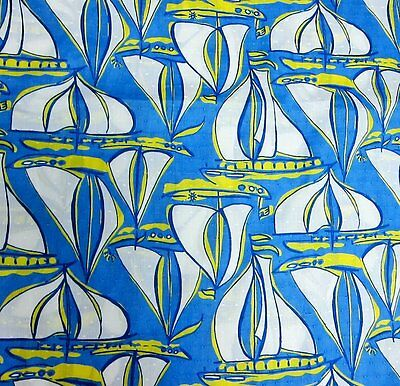 "Lilly Pulitzer Cotton Poplin Fabric Blue Docksider 1 yard 36""x57"""